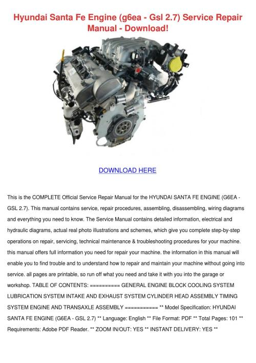 small resolution of hyundai santa fe engine g6ea gsl 27 service r by antwanworden issuu 2001 santa fe wiring schematic