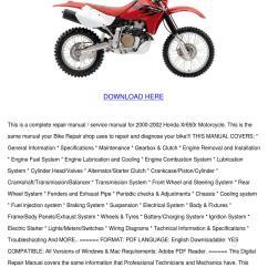 2002 Xr650r Wiring Diagram 2001 Mustang Gt Belt Honda Motorcycle Service Repair Manual By