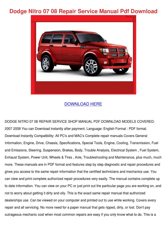 07 Dodge Nitro Shop Guides