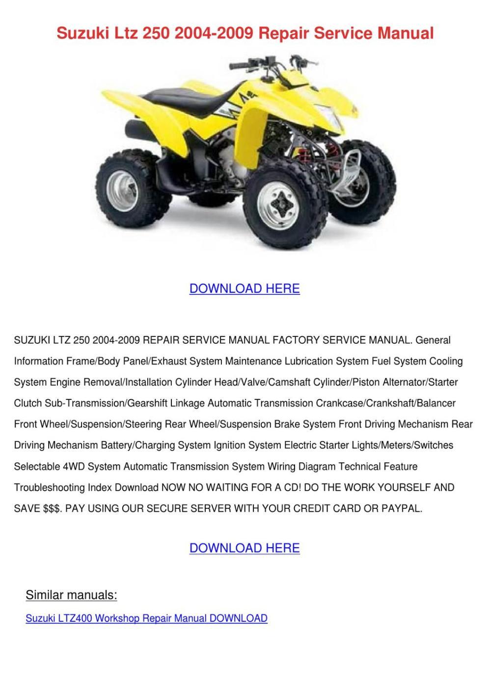 medium resolution of suzuki ltz 250 2004 2009 repair service manua