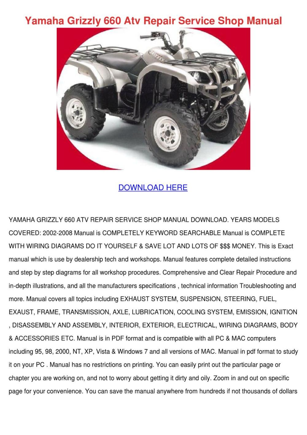 medium resolution of yamaha grizzly 660 atv repair service shop ma by gretchenfelder issuuyamaha grizzly 660 atv repair service
