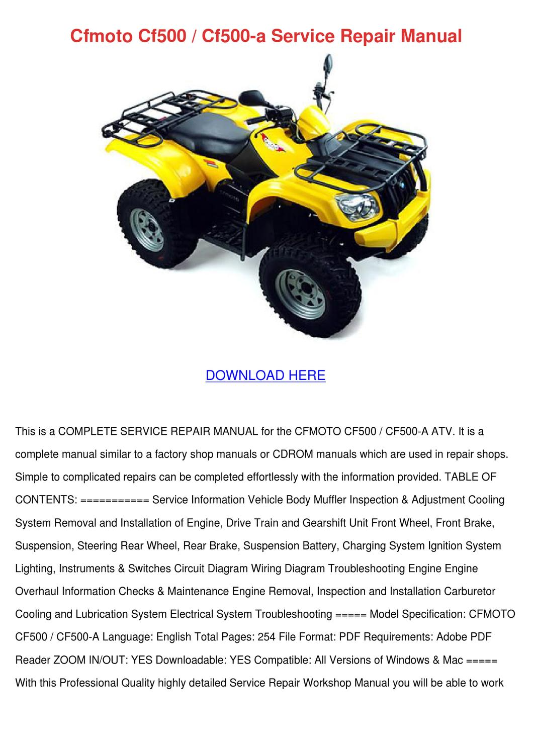 hight resolution of cfmoto cf500 cf500 a service repair manual by hattieflaherty issuu