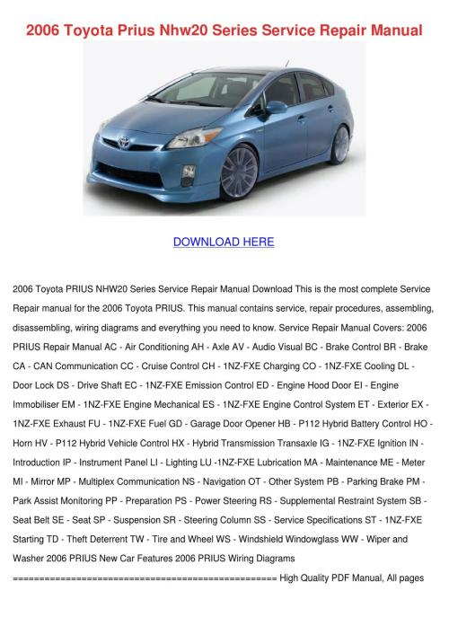 small resolution of 2006 toyota prius nhw20 series service repair