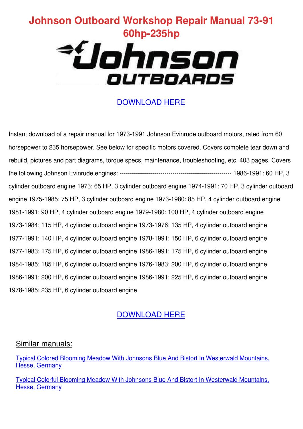 hight resolution of johnson outboard workshop repair manual 73 91 by beckyweatherford issuu