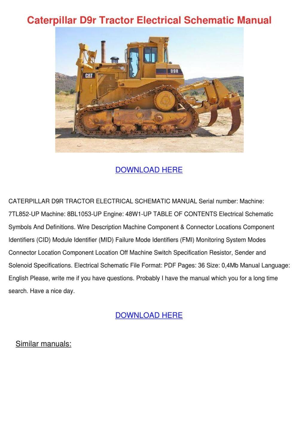 medium resolution of caterpillar d9r tractor electrical schematic