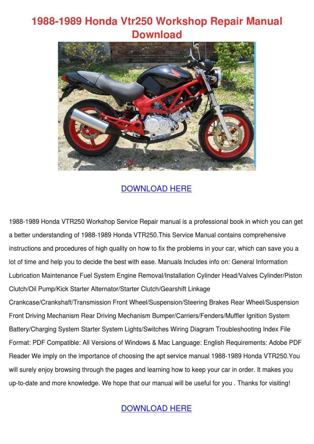 medium resolution of 1988 1989 honda vtr250 workshop repair manual