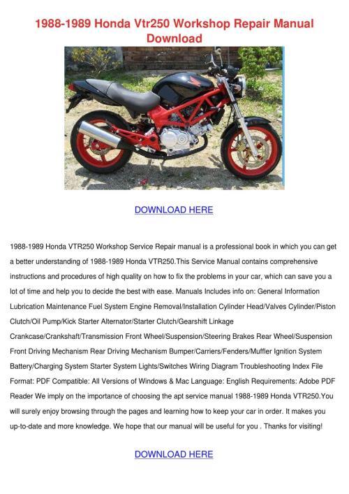 small resolution of 1988 1989 honda vtr250 workshop repair manual