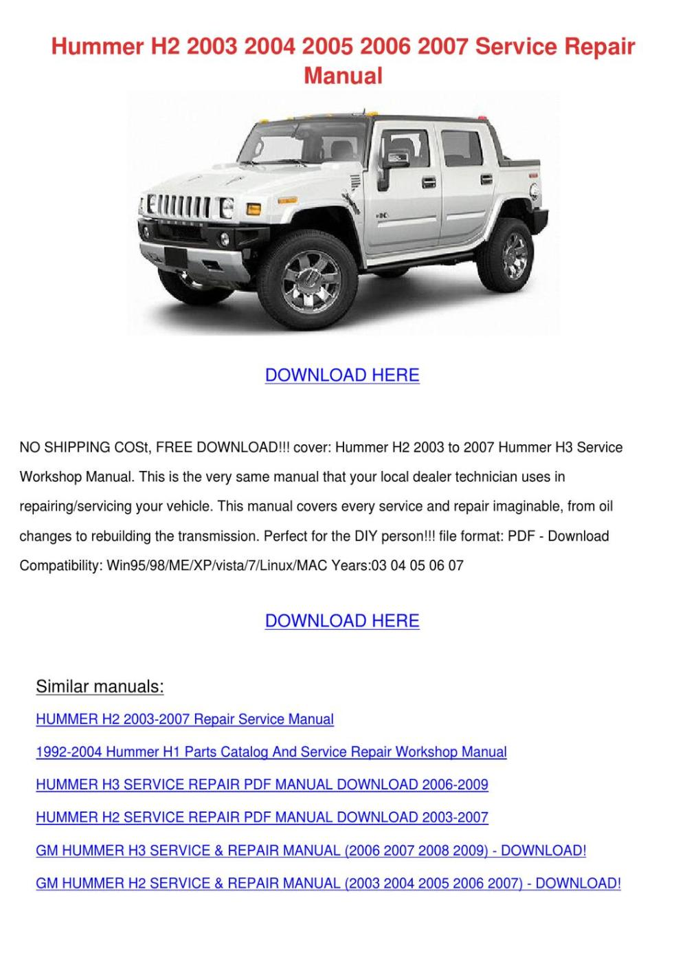 medium resolution of hummer h2 2003 2004 2005 2006 2007 service re by keirahodge issuu