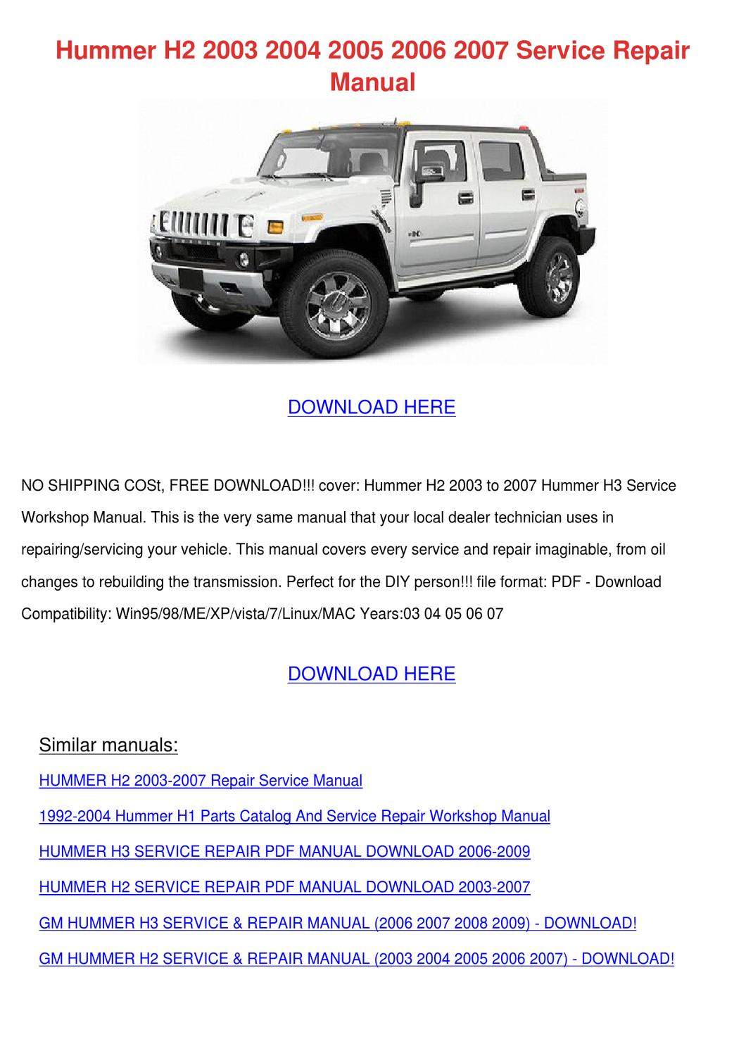hight resolution of hummer h2 2003 2004 2005 2006 2007 service re by keirahodge issuu