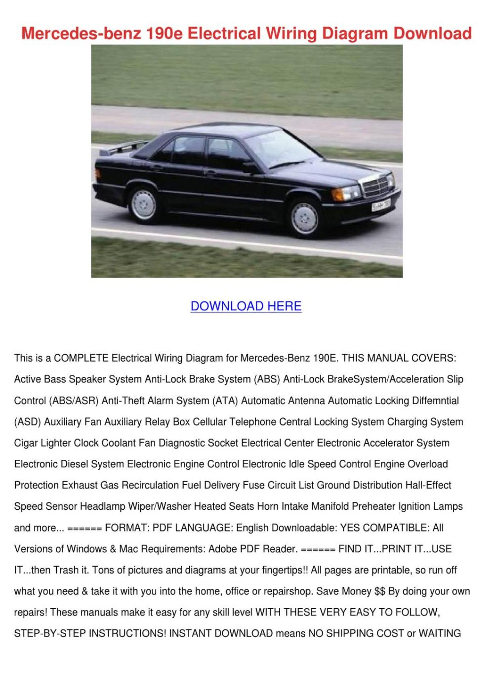 medium resolution of mercedes benz 190e electrical wiring diagram by arleneadam issuu