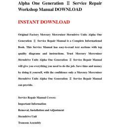 mercury mercruiser sterndrive units alpha one generation service repair workshop manual download [ 1058 x 1497 Pixel ]