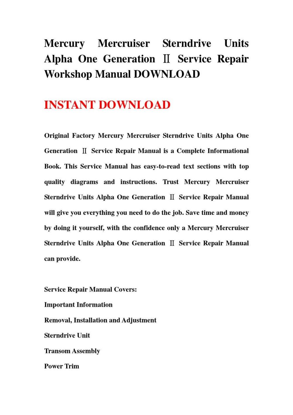 medium resolution of mercury mercruiser sterndrive units alpha one generation service repair workshop manual download
