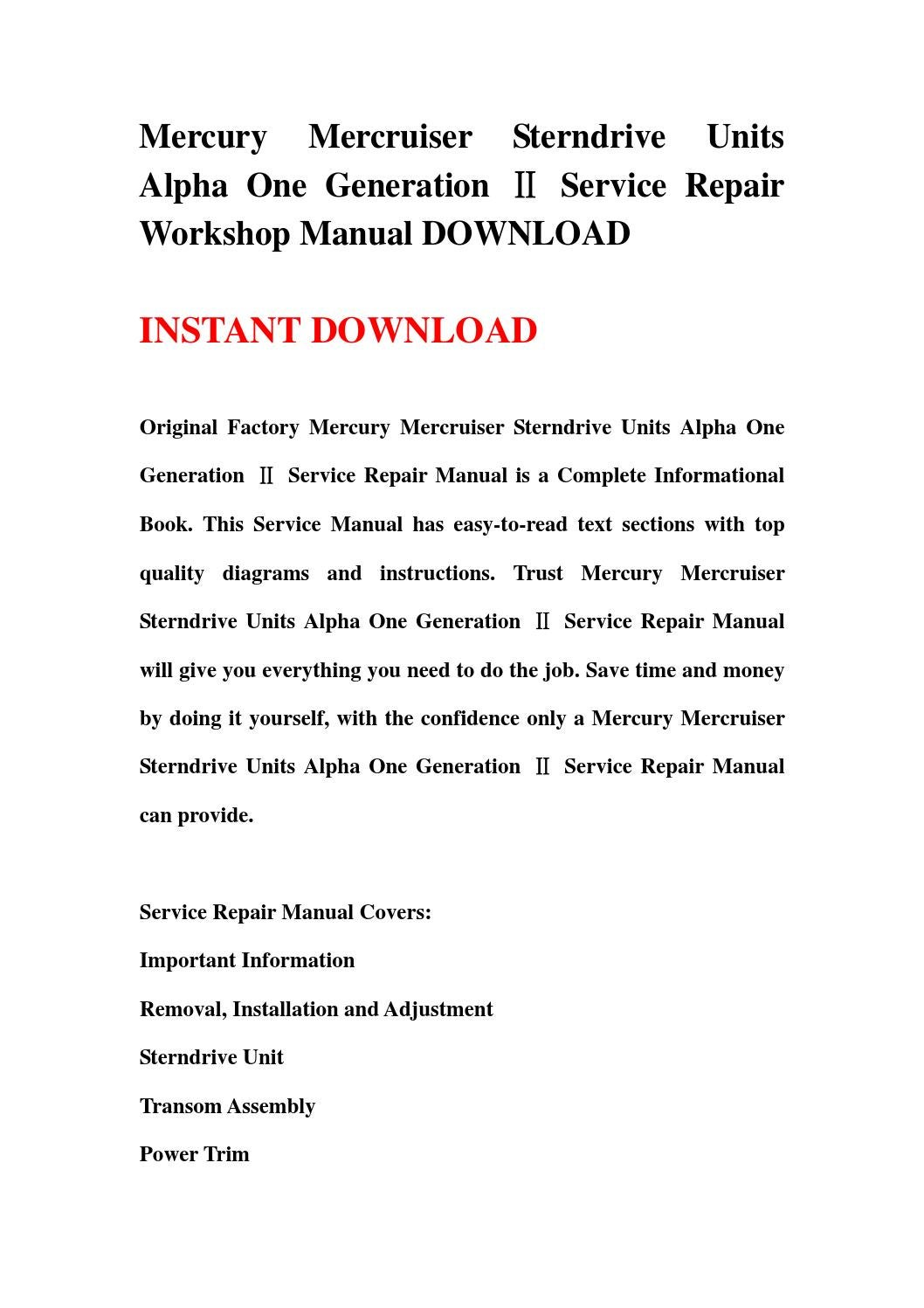hight resolution of mercury mercruiser sterndrive units alpha one generation service repair workshop manual download