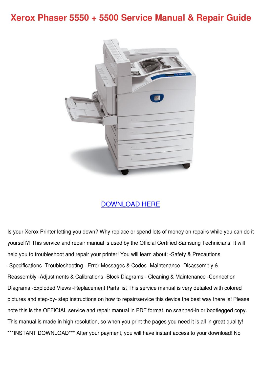 hight resolution of xerox phaser 5550 5500 service manual repair