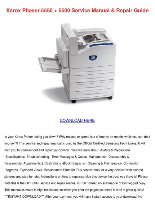 small resolution of xerox phaser 5550 5500 service manual repair
