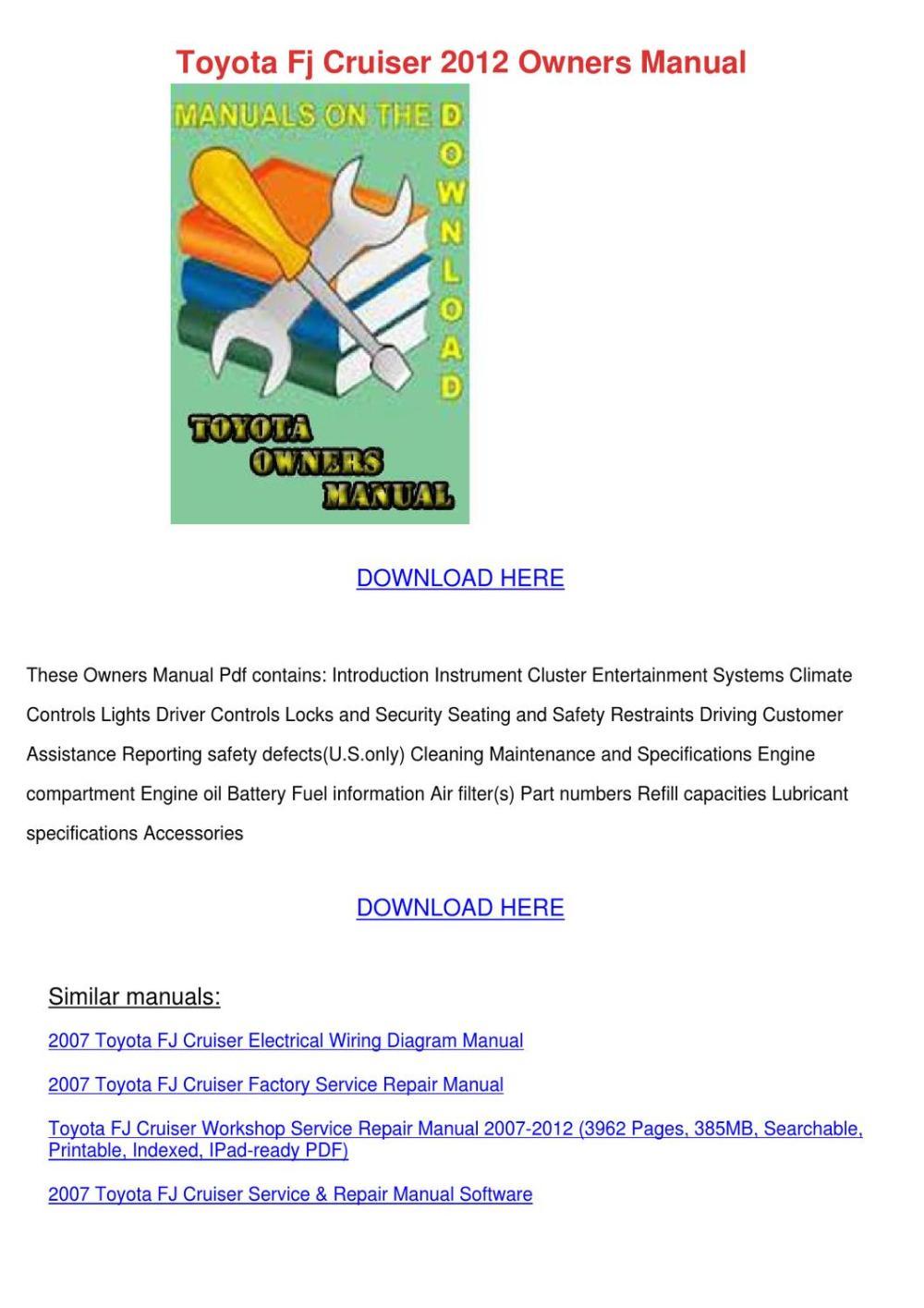 medium resolution of toyota fj cruiser 2012 owners manual