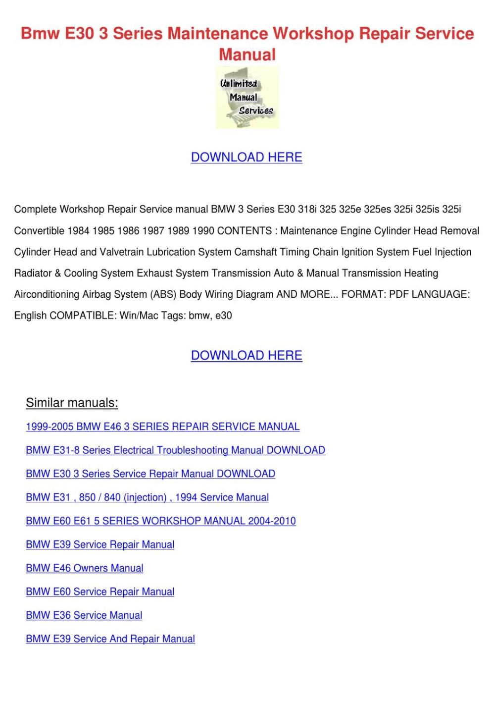 medium resolution of bmw e30 3 series maintenance workshop repair