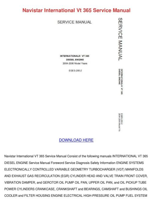 small resolution of navistar international vt 365 service manual by latricekaminski issuu rh issuu com international