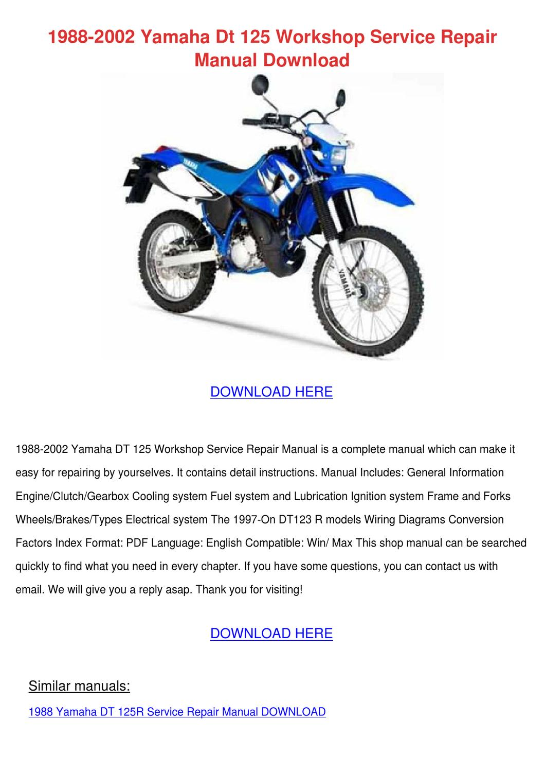 hight resolution of 1988 2002 yamaha dt 125 workshop service repa by arielleyarborough issuu