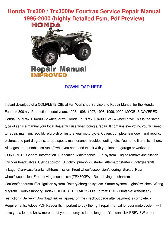 hight resolution of starter honda foutrax 300 wiring