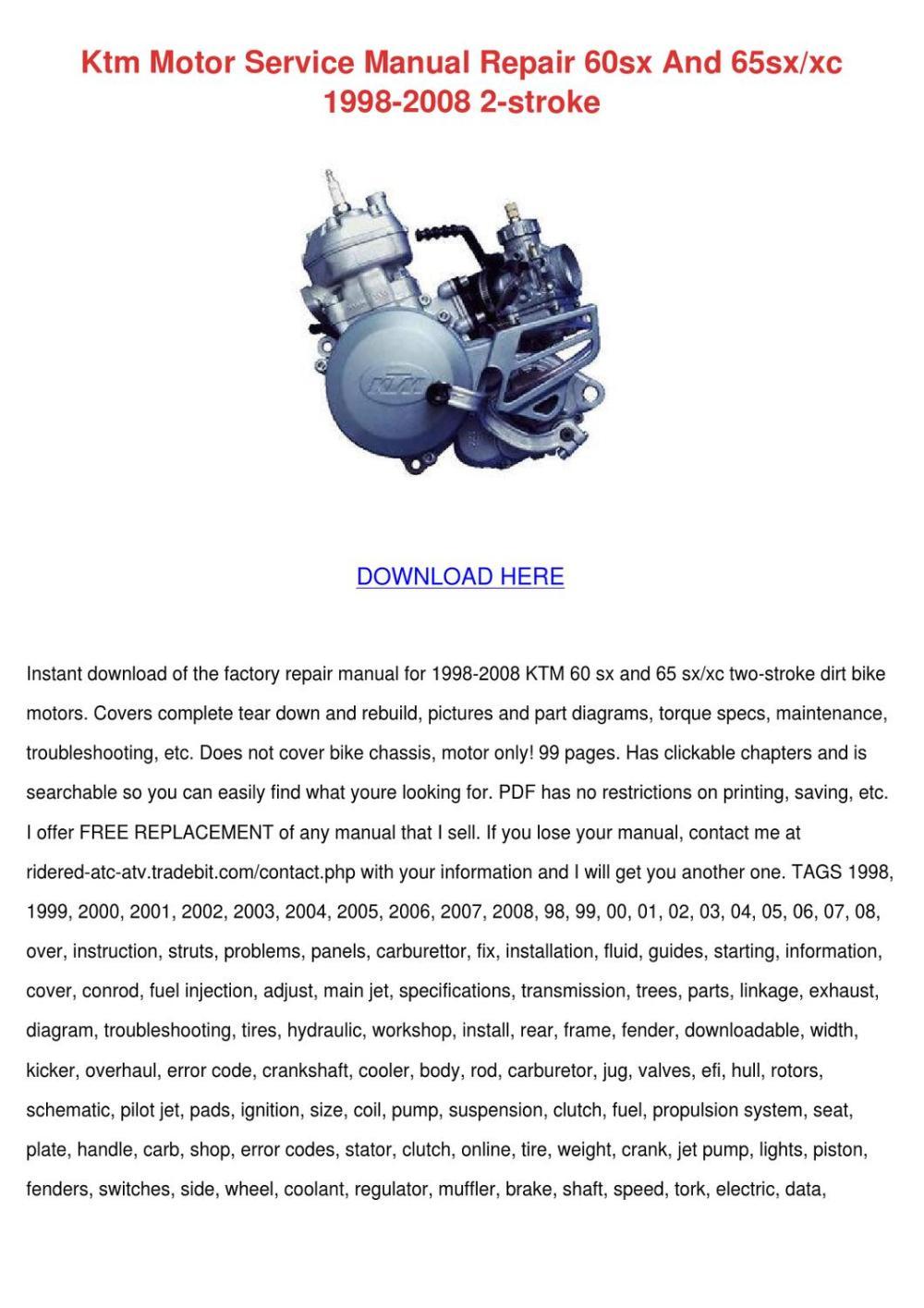 medium resolution of ktm 60sx 65sx 85sx bike engine workshop repair manual service manual ktm 65sx ktm service repair manual download pdf tradebit
