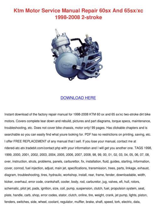 small resolution of ktm 60sx 65sx 85sx bike engine workshop repair manual service manual ktm 65sx ktm service repair manual download pdf tradebit