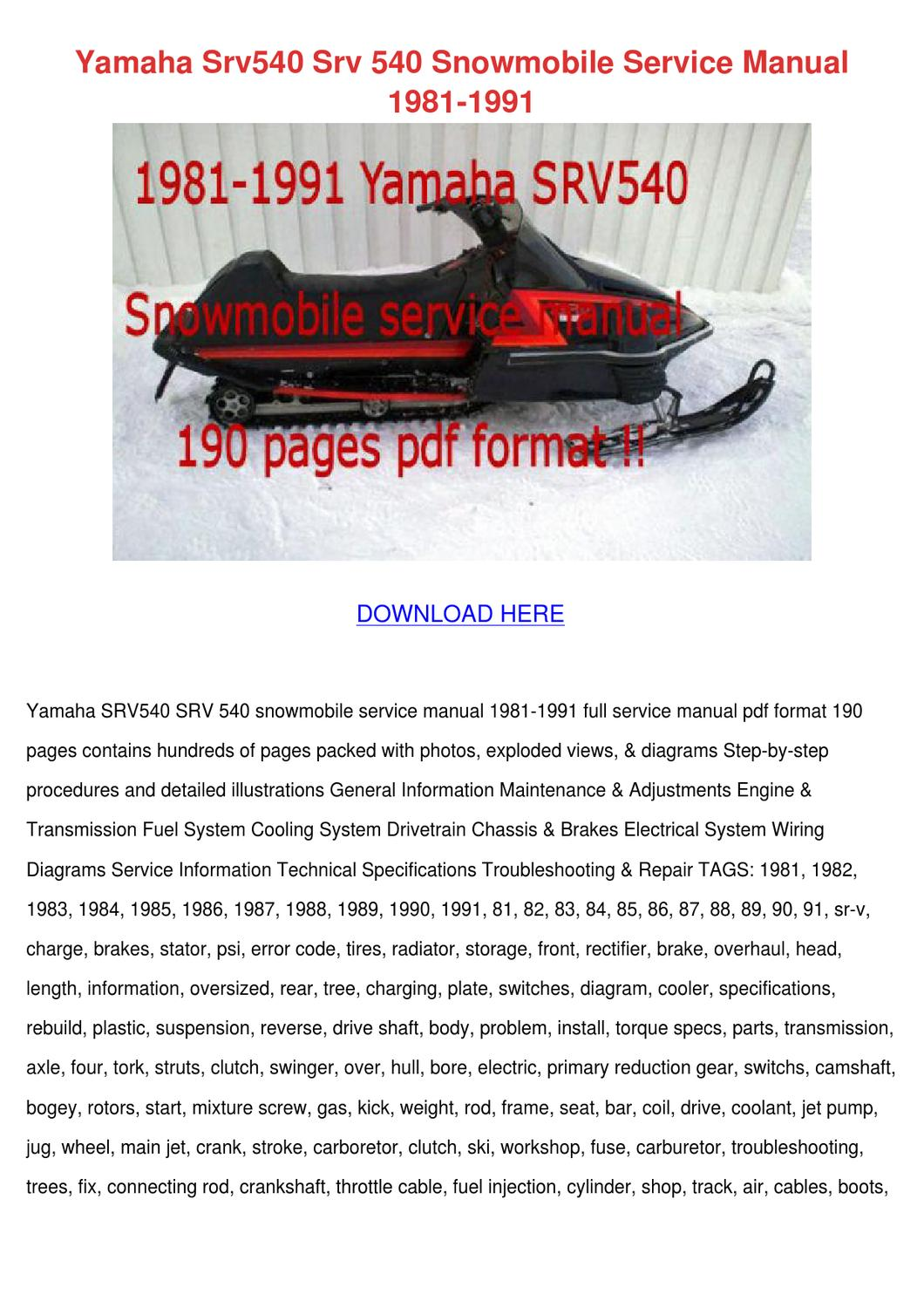 yamaha jet ski parts diagram mk4 jetta headlight wiring srv540 srv 540 snowmobile service manu by leoralaird - issuu