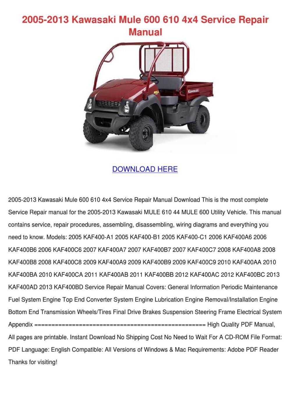 medium resolution of 2005 2013 kawasaki mule 600 610 4x4 service r by sammyrosenbaum issuukawasaki mule 600 wiring diagram