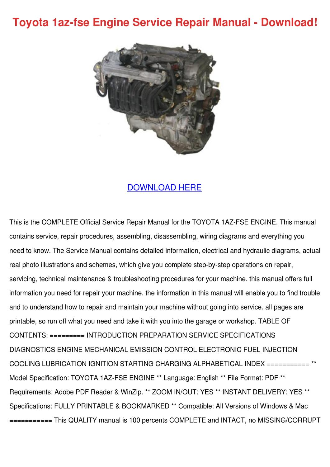 hight resolution of toyota 1az fse engine service repair manual d by nolaoconnor issuu