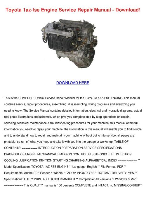 small resolution of toyota 1az fse engine service repair manual d by nolaoconnor issuu