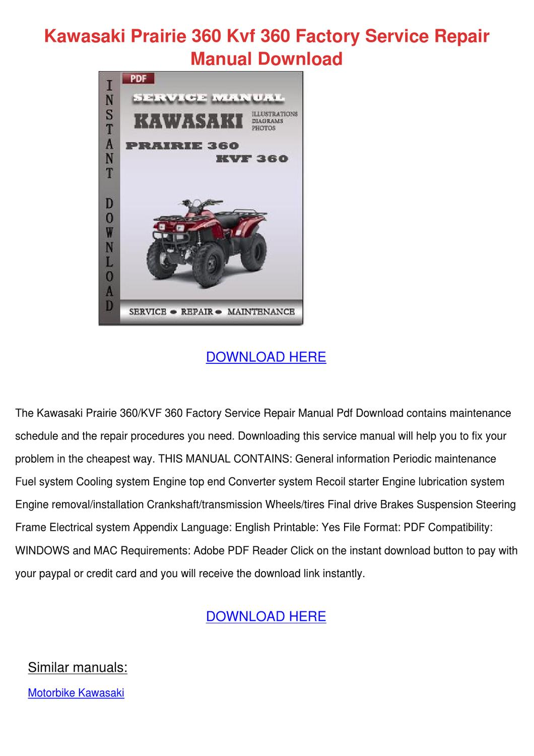 hight resolution of kawasaki prairie 360 kvf 360 factory service
