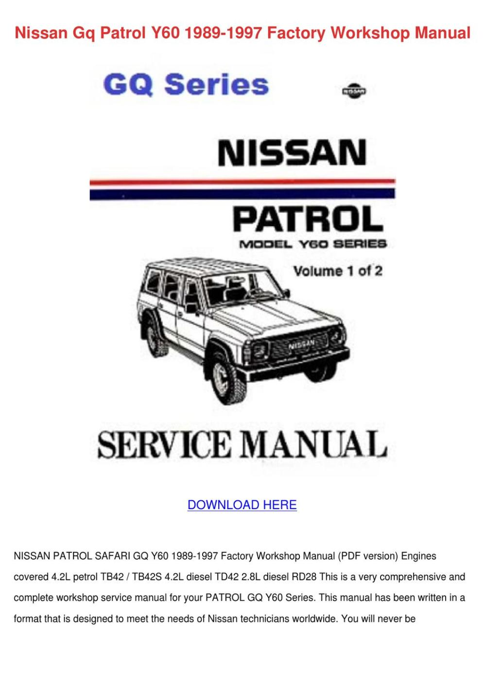 medium resolution of wiring diagrams at back are intact nissan patrol gu gr y61 workshop service repair flag forinappropriate content expect many ebooks that be accessed