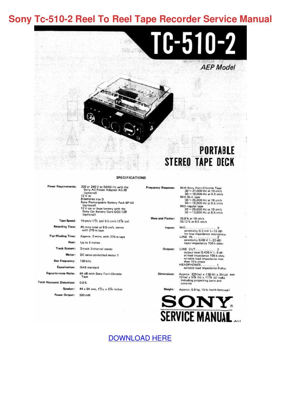 Sony Tc 510 2 Reel To Reel Tape Recorder Serv by EllaDang