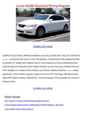 Lexus Gs300 Electrical Wiring Diagram by ForrestEgan  Issuu