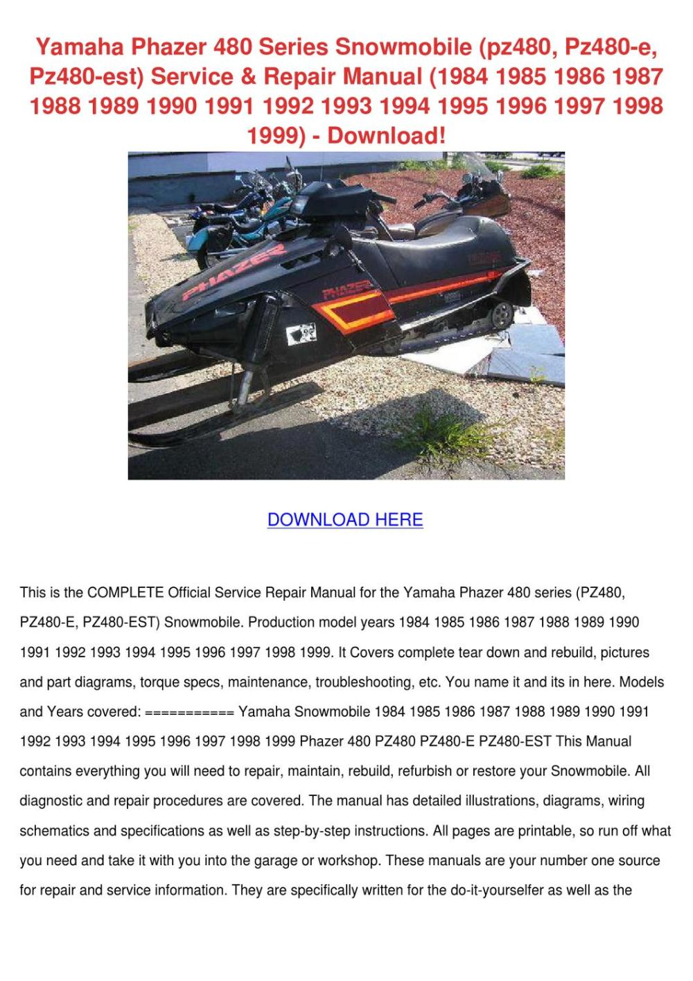 medium resolution of yamaha phazer 480 series snowmobile pz480 pz4 by mindylessard issuu