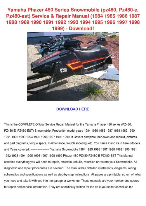 small resolution of yamaha phazer 480 series snowmobile pz480 pz4 by mindylessard issuu