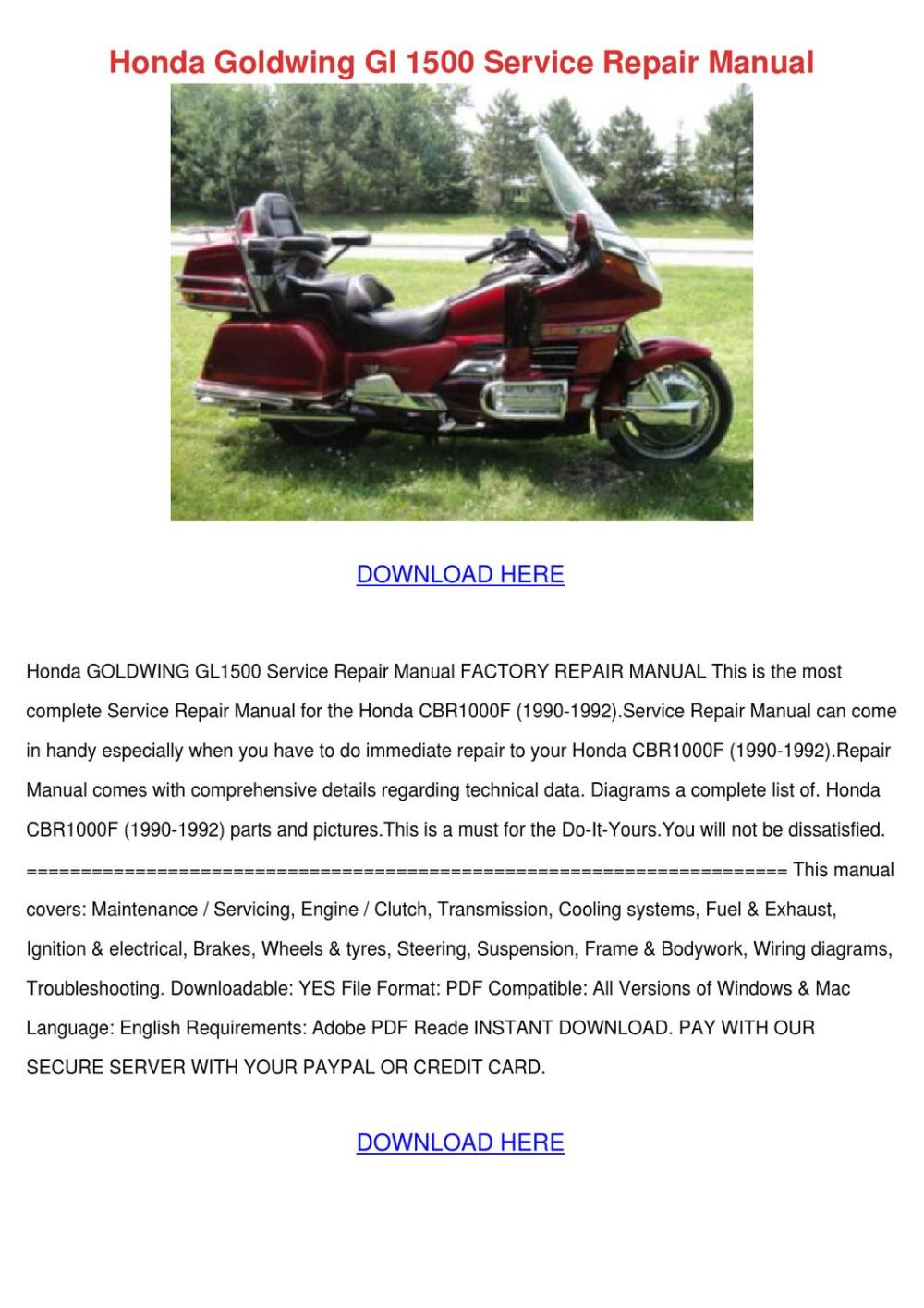 medium resolution of honda goldwing gl 1500 service repair manual