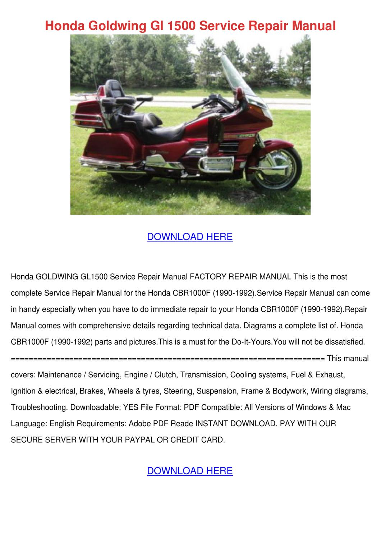 hight resolution of honda goldwing gl 1500 service repair manual