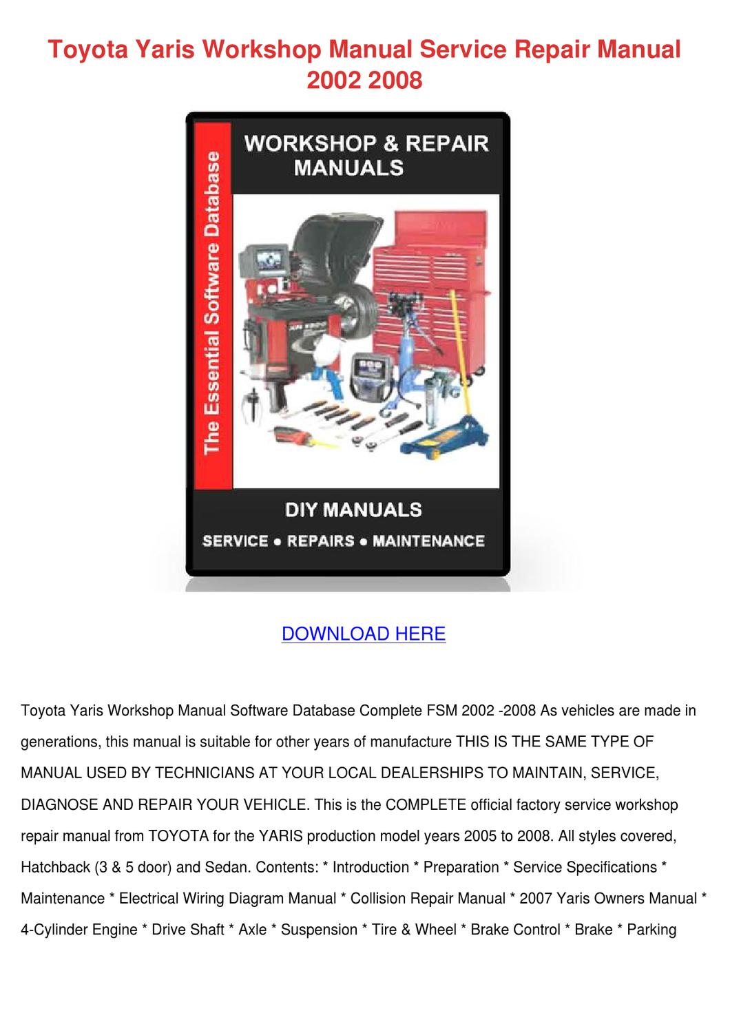 hight resolution of toyota yaris workshop manual service repair m by susannesingleton issuu