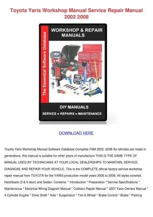 Toyota Yaris Workshop Manual Service Repair M by