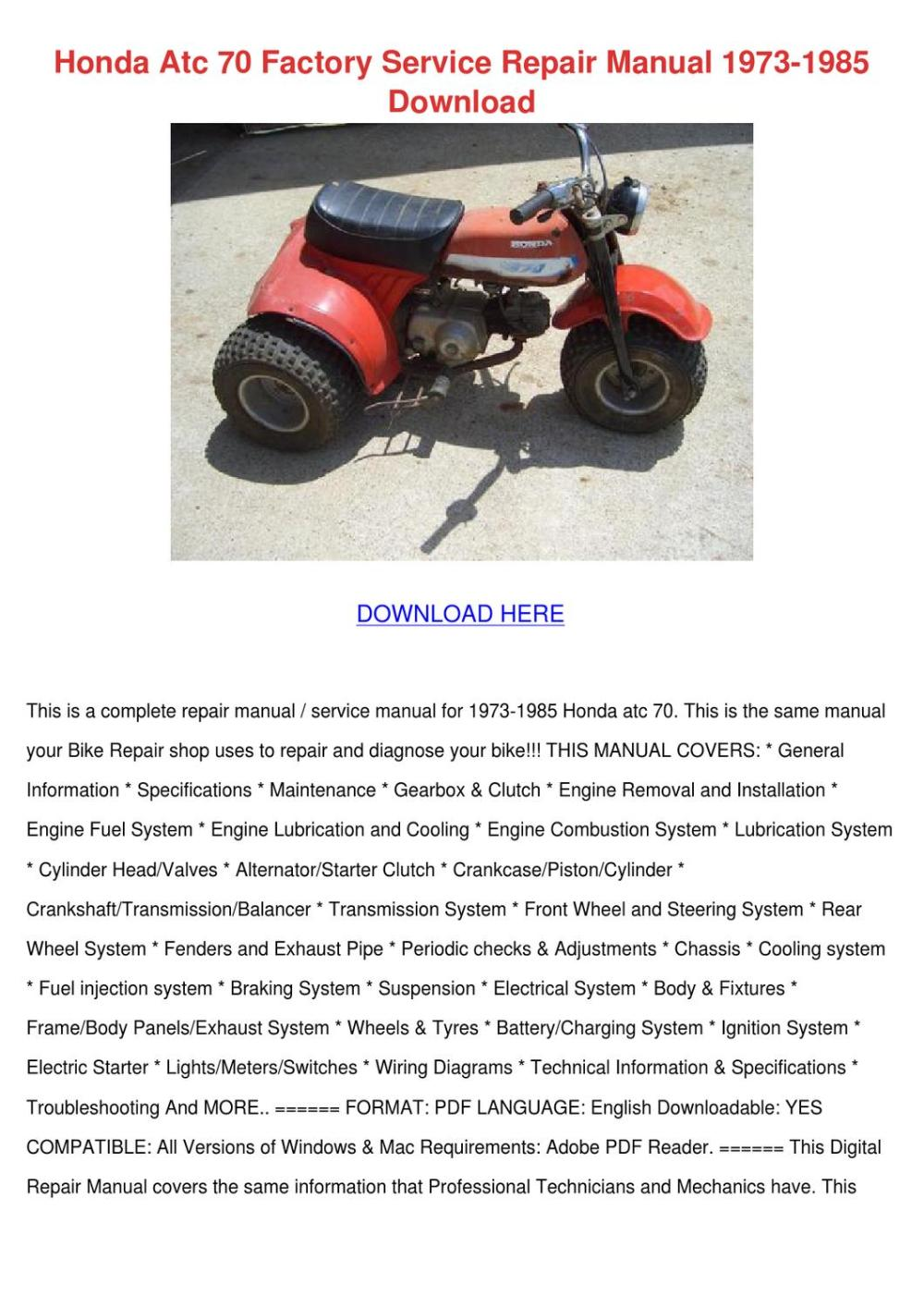 medium resolution of honda atc 70 factory service repair manual 19