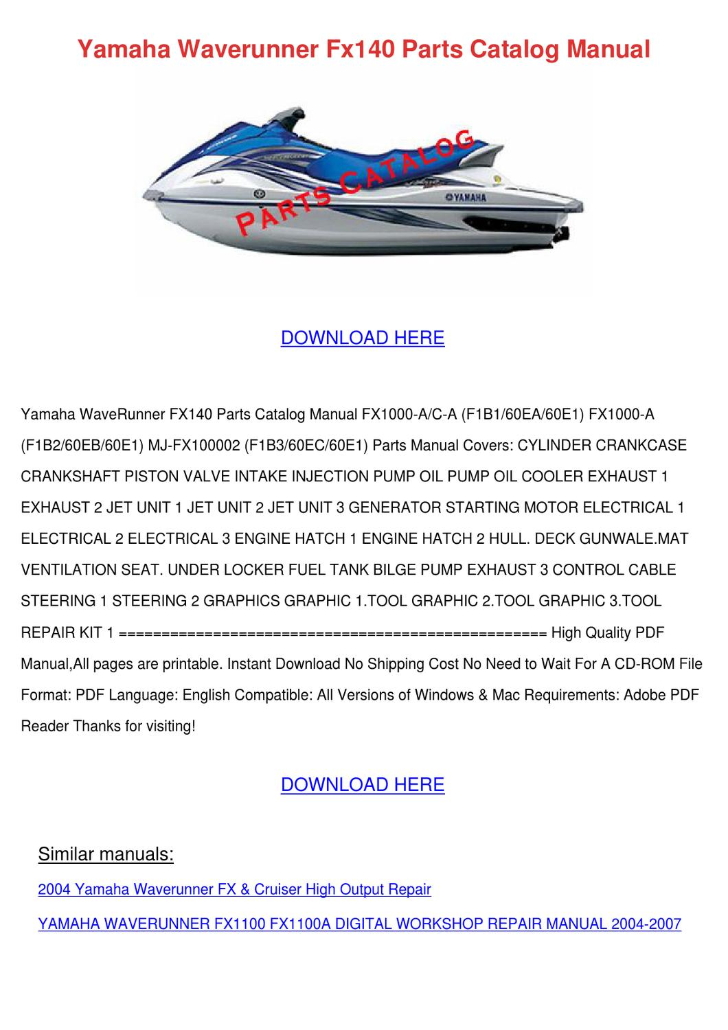 Yamaha Waverunner Fx140 Parts Catalog Manual by