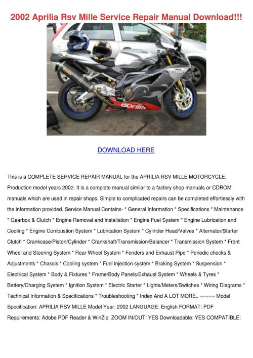 small resolution of 2002 aprilia rsv mille service repair manual by hassanfortin issuu mc21 nsr250 wiring diagrams