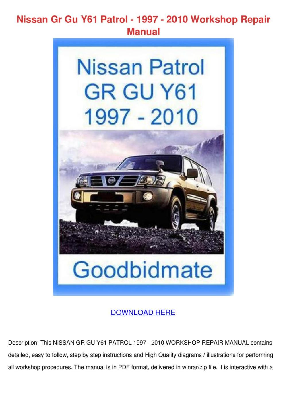medium resolution of nissan gr gu y61 patrol 1997 2010 workshop re by jordanherr issuunissan y61 wiring diagram