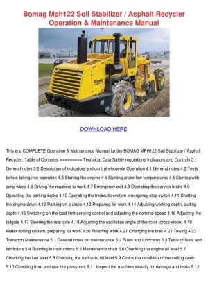 Bomag Mph122 Soil Stabilizer Asphalt Recycler by