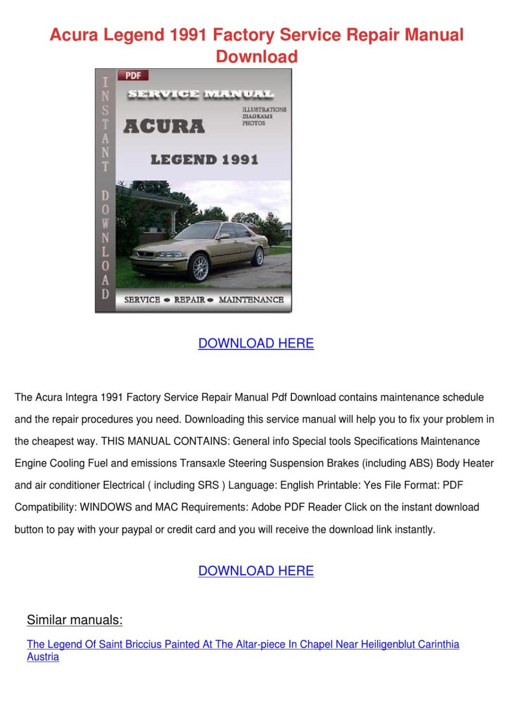 medium resolution of acura legend 1991 factory service repair manu