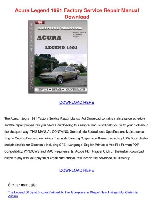 small resolution of acura legend 1991 factory service repair manu