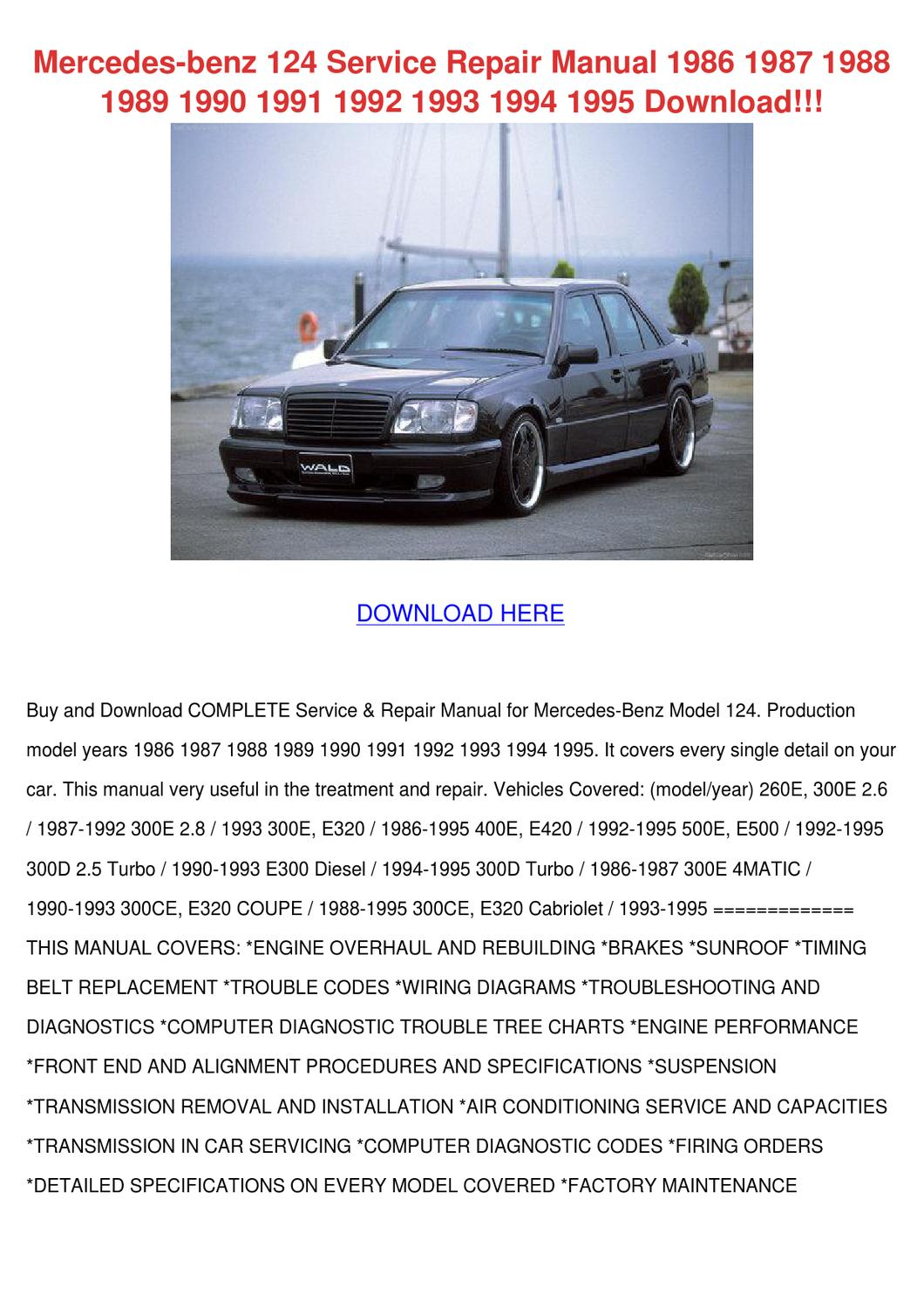 mercedes e500 wiring diagram jsf architecture benz 124 service repair manual 1986 by