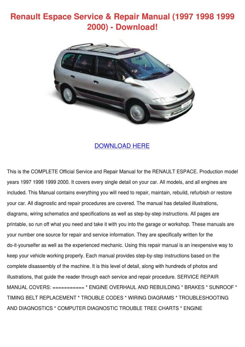 medium resolution of renault espace service repair manual 1997 199