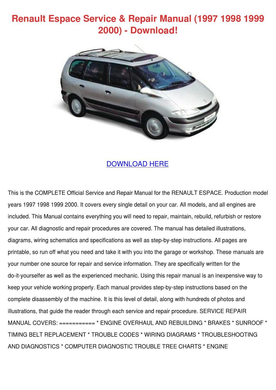 hight resolution of renault espace service repair manual 1997 199